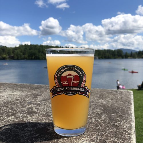 great adirondack brewing company logo pint glass