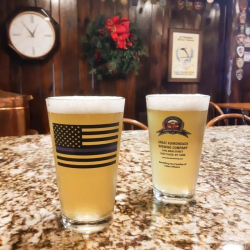 great adirondack brewing company pint glass police appreciation